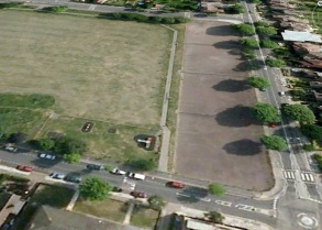Aerial shot of tennis courts from West