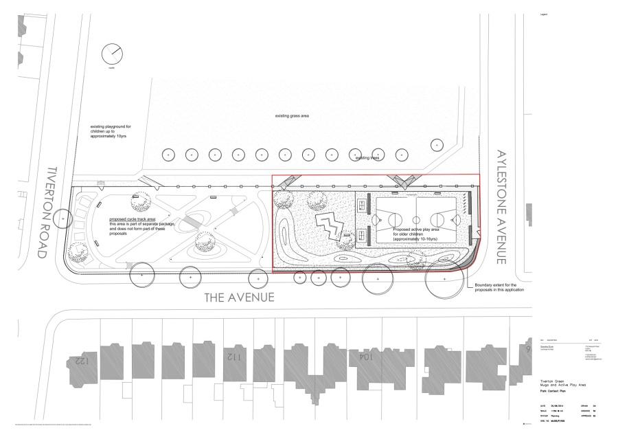 Tiverton Green Muga Plans BW map close-up detail