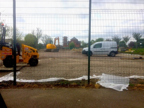 MUGA contractors at work May 2015
